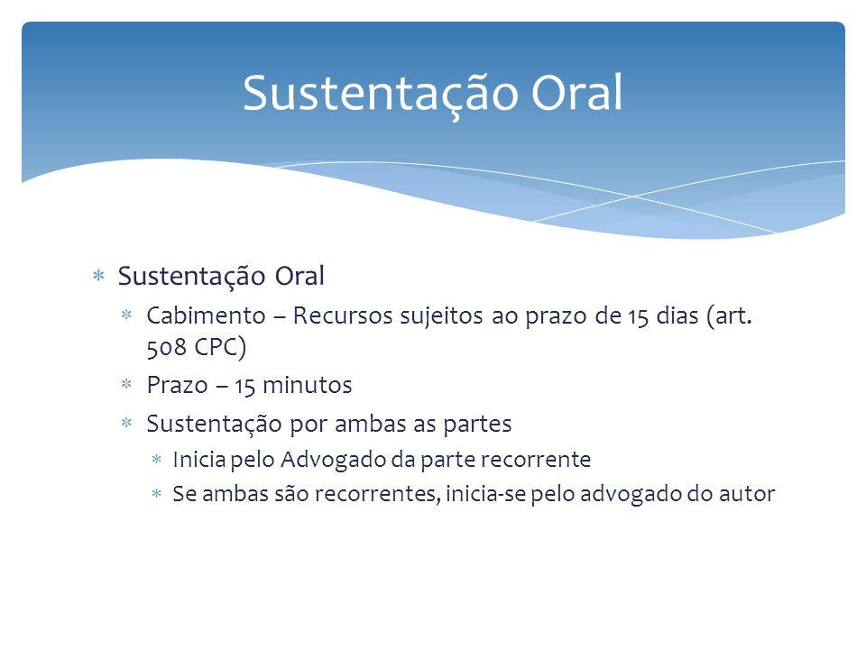 Sustentação Oral Cabimento – Recursos sujeitos ao prazo de 15 dias (art. 508 CPC) Prazo – 15 minutos Sustentação por ambas as partes Inicia pelo Advog