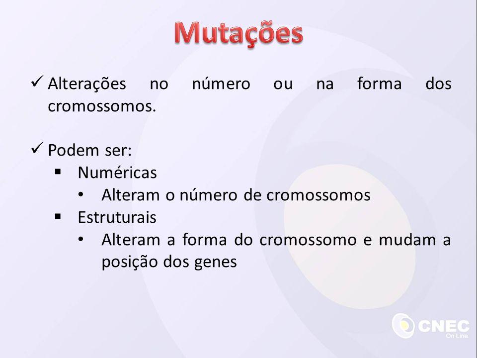 Alterações no número ou na forma dos cromossomos. Podem ser: Numéricas Alteram o número de cromossomos Estruturais Alteram a forma do cromossomo e mud