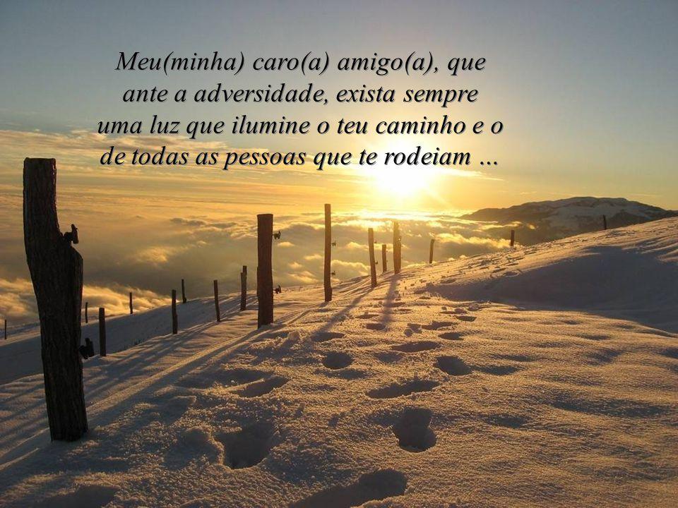 Amigo(a), o Deus em Quem eu creio, não nos manda o problema, mas a força para o suportar.