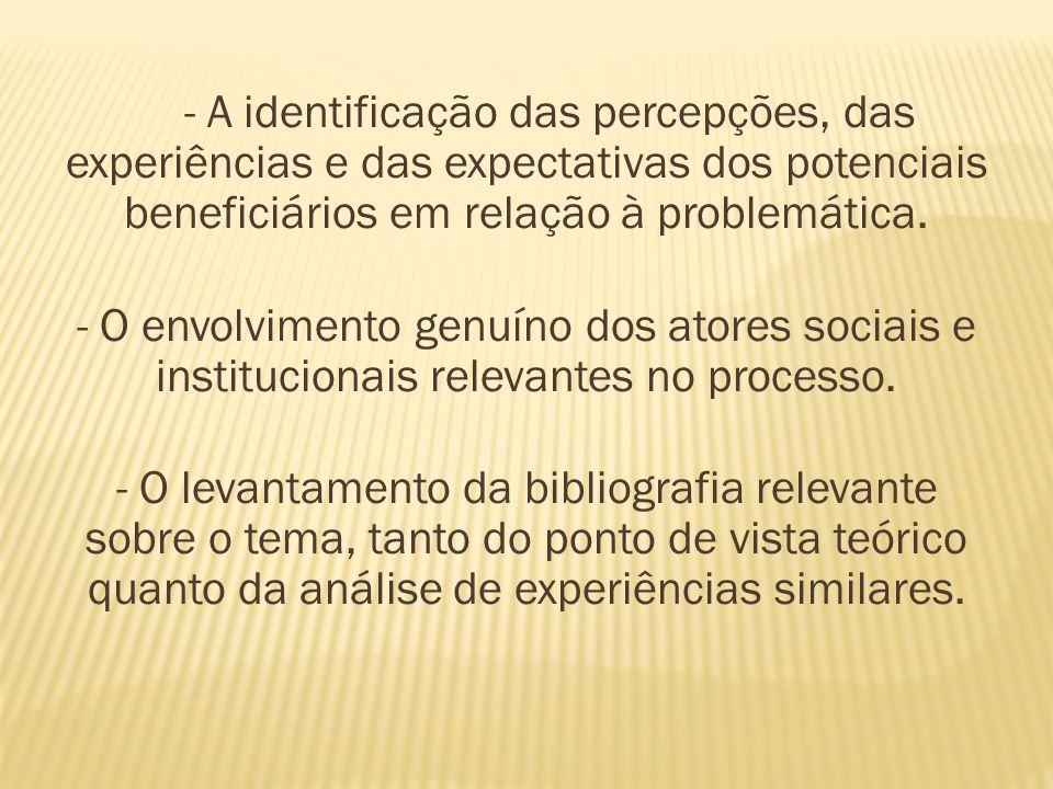 - A identificação das percepções, das experiências e das expectativas dos potenciais beneficiários em relação à problemática. - O envolvimento genuíno