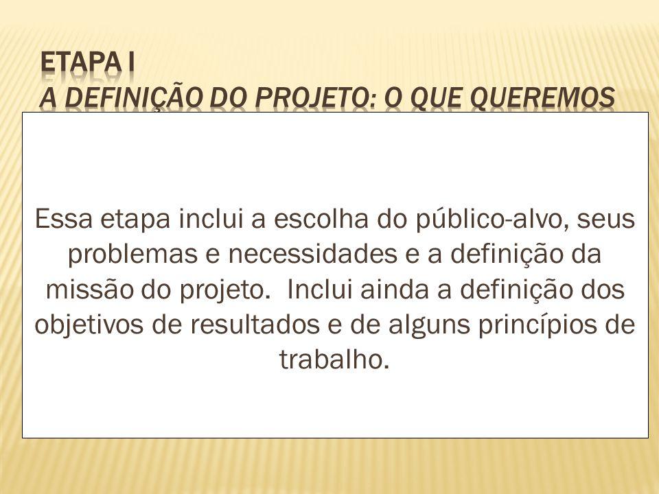 Essa etapa inclui a escolha do público-alvo, seus problemas e necessidades e a definição da missão do projeto. Inclui ainda a definição dos objetivos