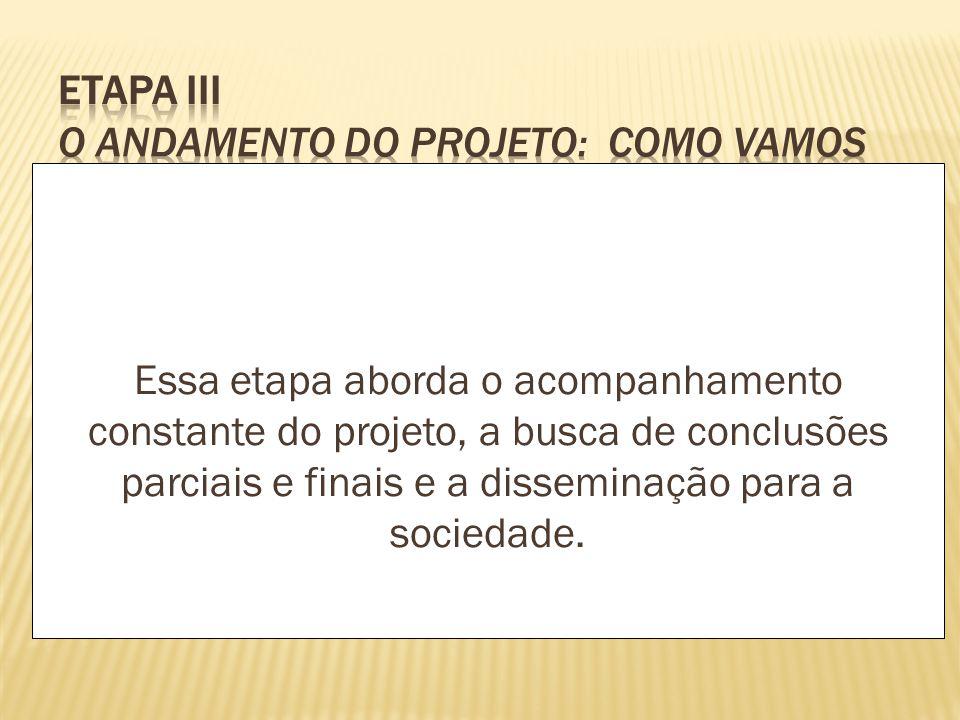 Essa etapa aborda o acompanhamento constante do projeto, a busca de conclusões parciais e finais e a disseminação para a sociedade.