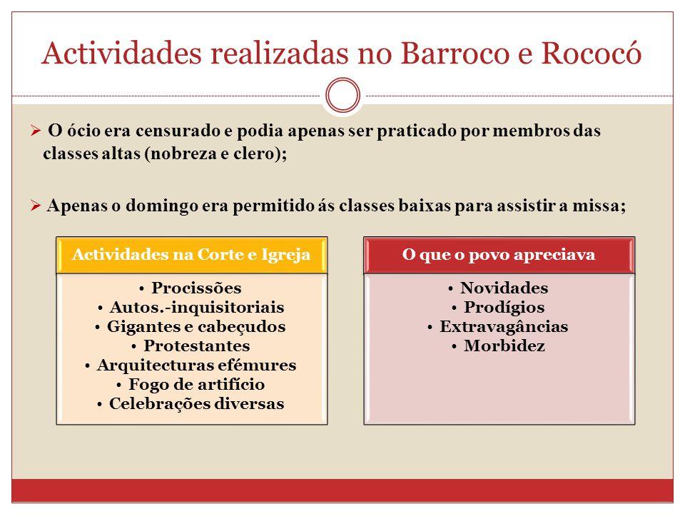 Actividades realizadas no Barroco e Rococó O ócio era censurado e podia apenas ser praticado por membros das classes altas (nobreza e clero); Apenas o