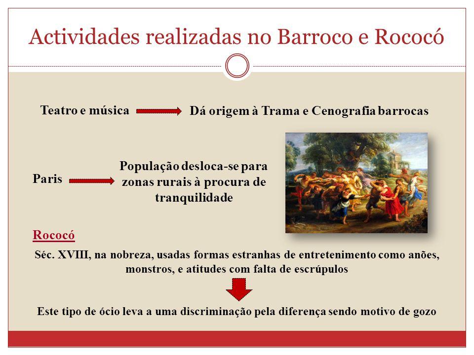 Actividades realizadas no Barroco e Rococó Teatro e música Dá origem à Trama e Cenografia barrocas Paris População desloca-se para zonas rurais à proc