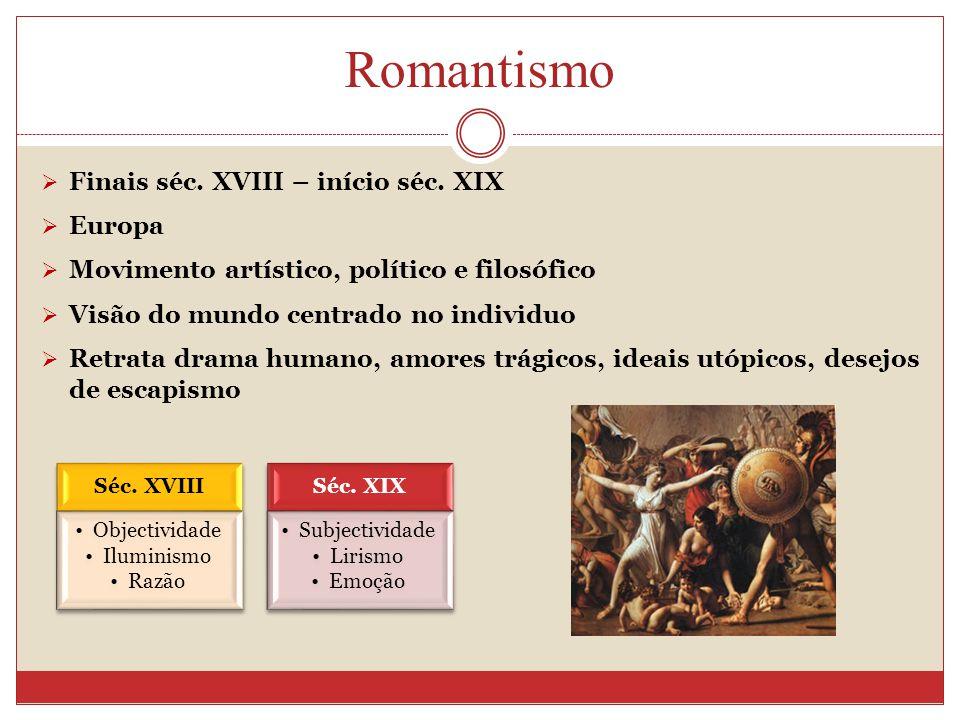 Romantismo Finais séc. XVIII – início séc. XIX Europa Movimento artístico, político e filosófico Visão do mundo centrado no individuo Retrata drama hu