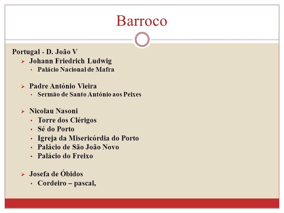 Portugal - D. João V Johann Friedrich Ludwig Palácio Nacional de Mafra Padre António Vieira Sermão de Santo António aos Peixes Nicolau Nasoni Torre do