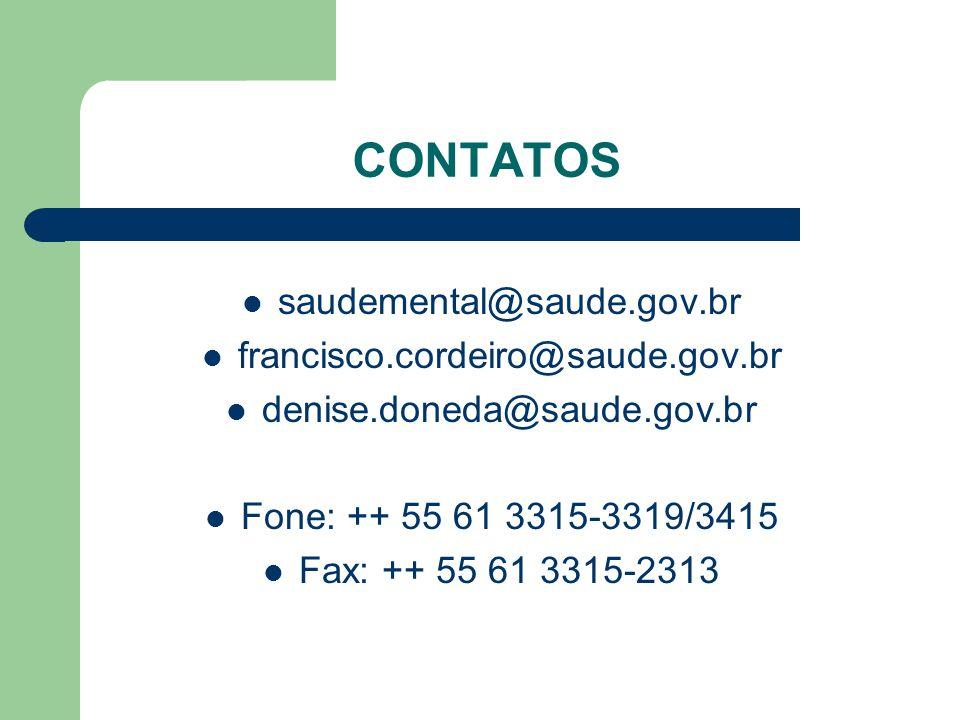 CONTATOS saudemental@saude.gov.br francisco.cordeiro@saude.gov.br denise.doneda@saude.gov.br Fone: ++ 55 61 3315-3319/3415 Fax: ++ 55 61 3315-2313
