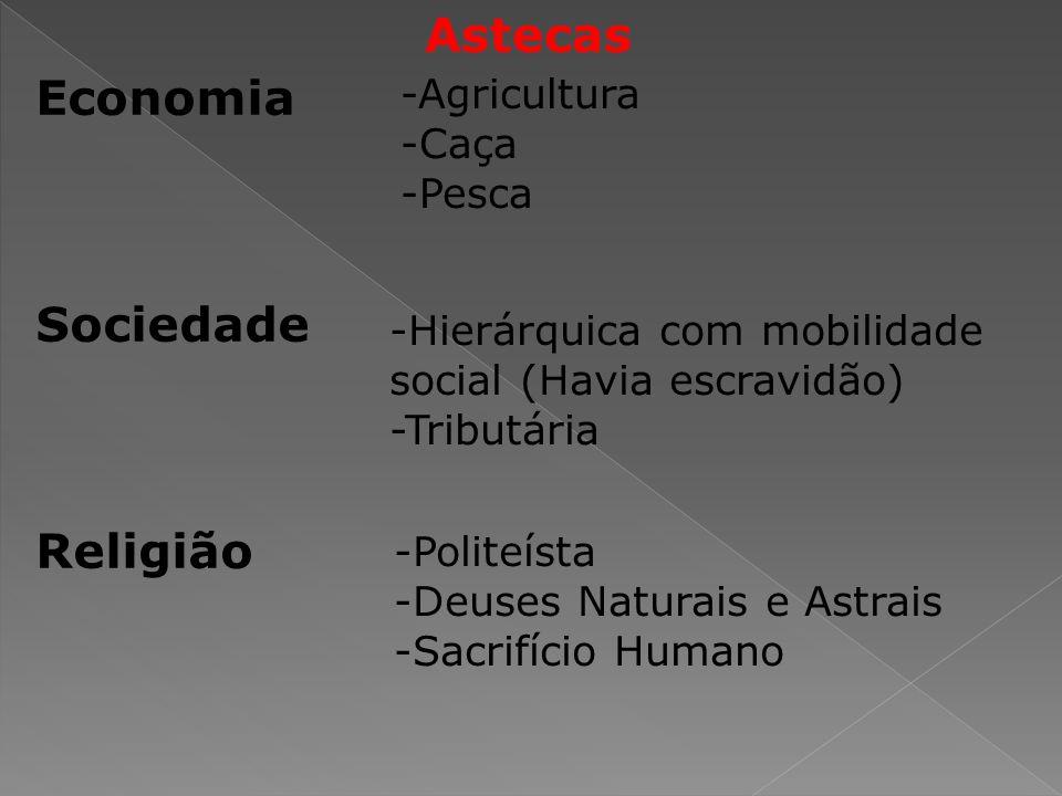 Economia Sociedade Religião -Agricultura -Caça -Pesca -Hierárquica com mobilidade social (Havia escravidão) -Tributária -Politeísta -Deuses Naturais e