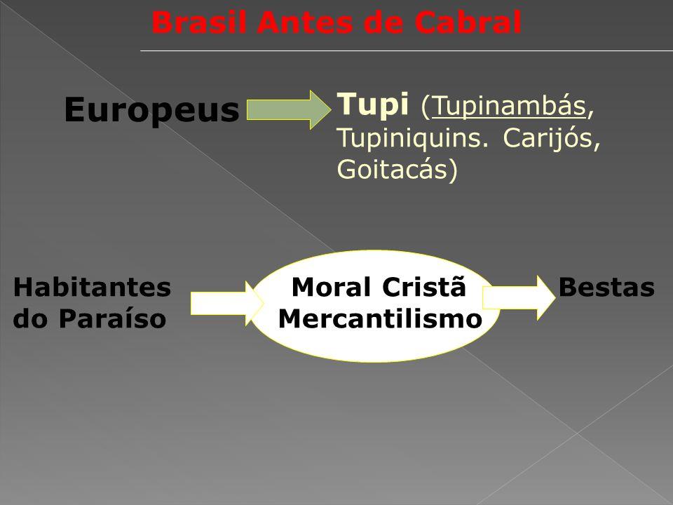 Brasil Antes de Cabral Europeus Tupi (Tupinambás, Tupiniquins. Carijós, Goitacás) Habitantes Moral Cristã Bestas do Paraíso Mercantilismo