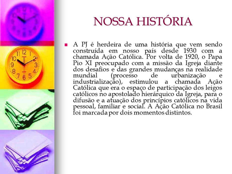 NOSSA HISTÓRIA A PJ é herdeira de uma história que vem sendo construída em nosso país desde 1930 com a chamada Ação Católica. Por volta de 1920, o Pap