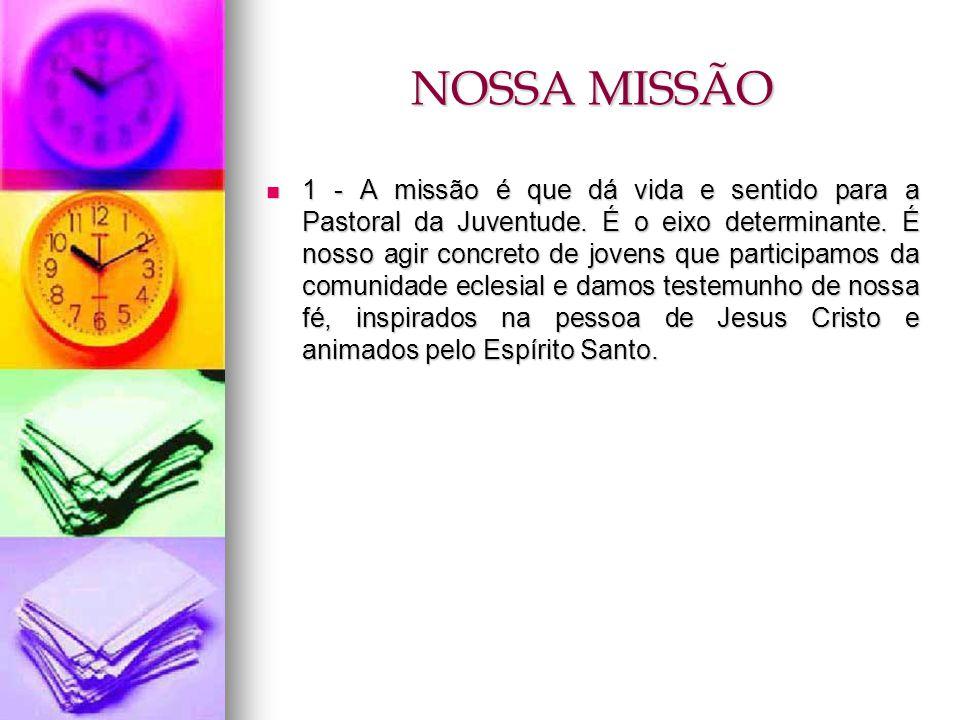 NOSSA MISSÃO 1 - A missão é que dá vida e sentido para a Pastoral da Juventude. É o eixo determinante. É nosso agir concreto de jovens que participamo