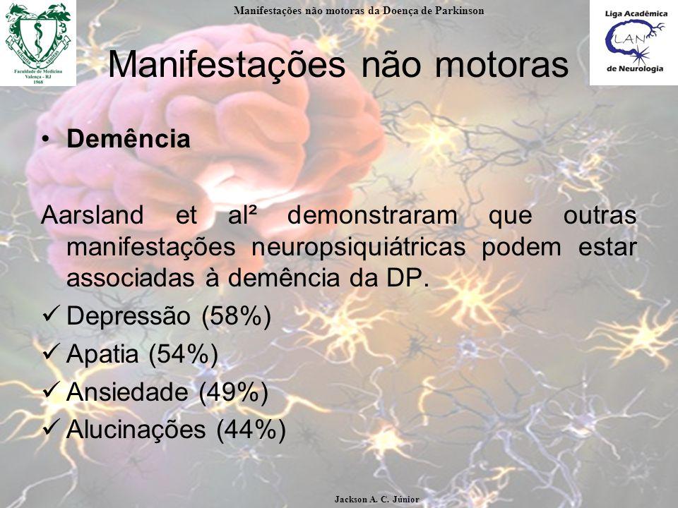 Manifestações não motoras Demência Aarsland et al² demonstraram que outras manifestações neuropsiquiátricas podem estar associadas à demência da DP.
