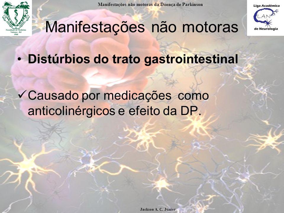 Manifestações não motoras Distúrbios do trato gastrointestinal Causado por medicações como anticolinérgicos e efeito da DP.