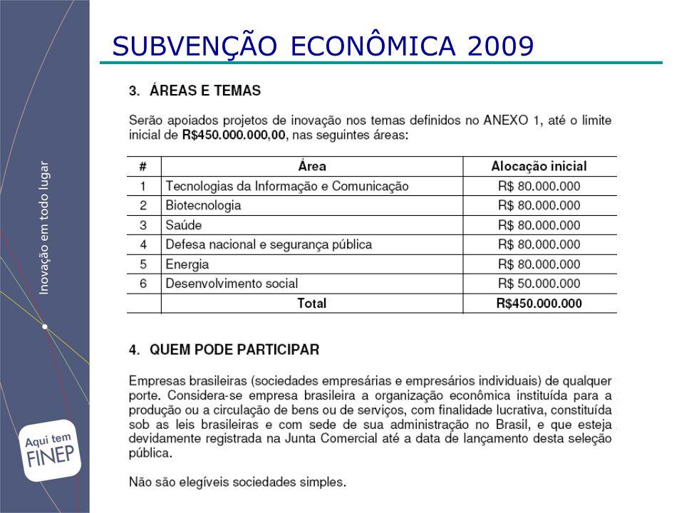 SUBVENÇÃO ECONÔMICA 2009