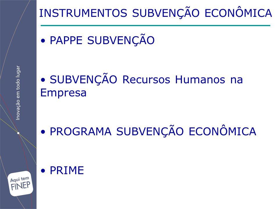 INSTRUMENTOS SUBVENÇÃO ECONÔMICA PAPPE SUBVENÇÃO SUBVENÇÃO Recursos Humanos na Empresa PROGRAMA SUBVENÇÃO ECONÔMICA PRIME