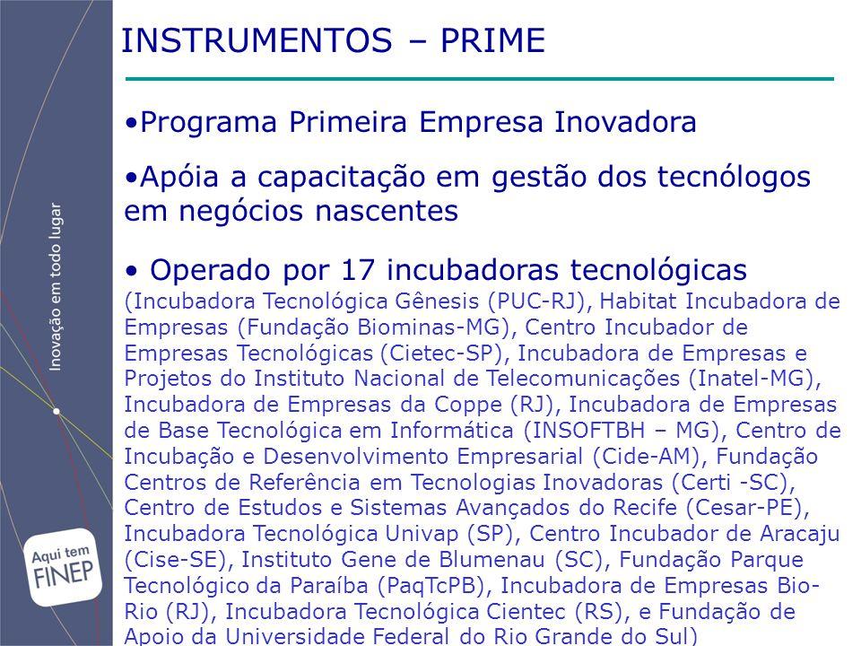 INSTRUMENTOS – PRIME Programa Primeira Empresa Inovadora Apóia a capacitação em gestão dos tecnólogos em negócios nascentes Operado por 17 incubadoras tecnológicas (Incubadora Tecnológica Gênesis (PUC-RJ), Habitat Incubadora de Empresas (Fundação Biominas-MG), Centro Incubador de Empresas Tecnológicas (Cietec-SP), Incubadora de Empresas e Projetos do Instituto Nacional de Telecomunicações (Inatel-MG), Incubadora de Empresas da Coppe (RJ), Incubadora de Empresas de Base Tecnológica em Informática (INSOFTBH – MG), Centro de Incubação e Desenvolvimento Empresarial (Cide-AM), Fundação Centros de Referência em Tecnologias Inovadoras (Certi -SC), Centro de Estudos e Sistemas Avançados do Recife (Cesar-PE), Incubadora Tecnológica Univap (SP), Centro Incubador de Aracaju (Cise-SE), Instituto Gene de Blumenau (SC), Fundação Parque Tecnológico da Paraíba (PaqTcPB), Incubadora de Empresas Bio- Rio (RJ), Incubadora Tecnológica Cientec (RS), e Fundação de Apoio da Universidade Federal do Rio Grande do Sul)