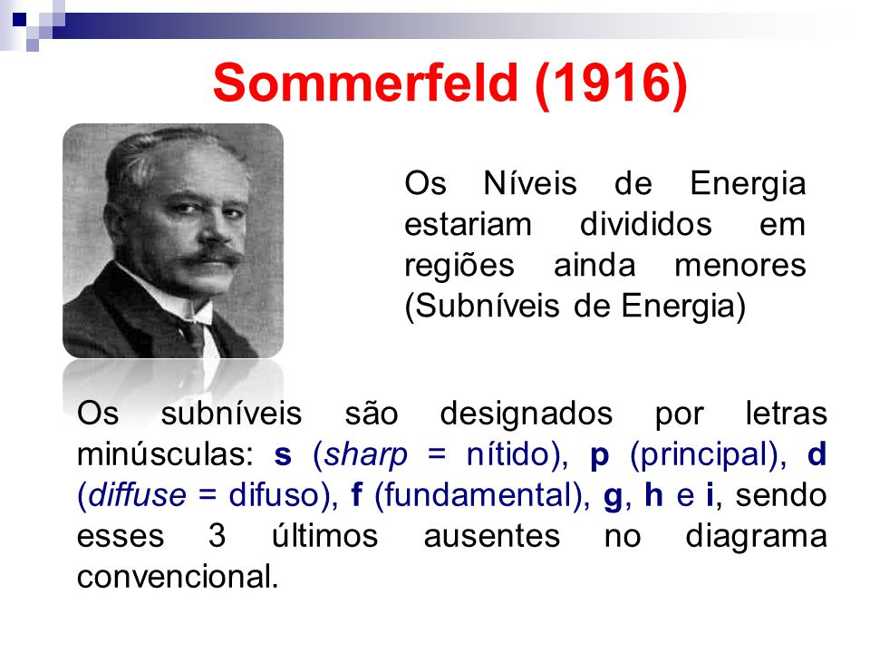Sommerfeld (1916) Os Níveis de Energia estariam divididos em regiões ainda menores (Subníveis de Energia) Os subníveis são designados por letras minús