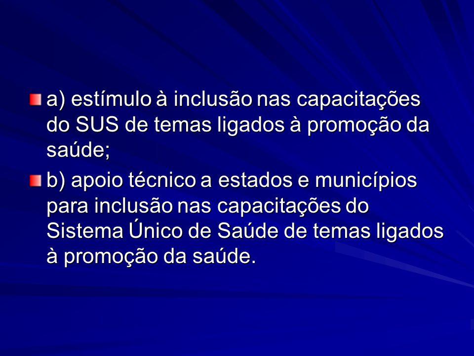 a) estímulo à inclusão nas capacitações do SUS de temas ligados à promoção da saúde; b) apoio técnico a estados e municípios para inclusão nas capacit