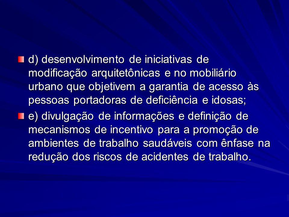 d) desenvolvimento de iniciativas de modificação arquitetônicas e no mobiliário urbano que objetivem a garantia de acesso às pessoas portadoras de def