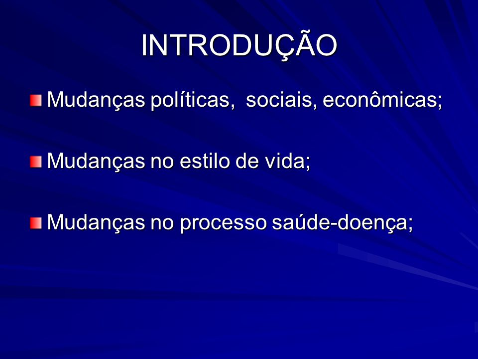 INTRODUÇÃO Mudanças políticas, sociais, econômicas; Mudanças no estilo de vida; Mudanças no processo saúde-doença;