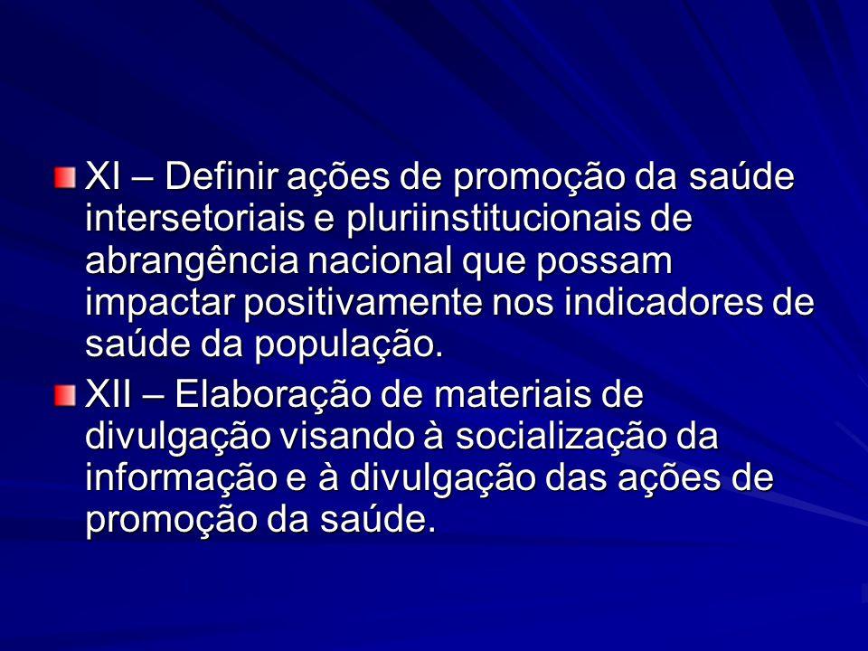 XI – Definir ações de promoção da saúde intersetoriais e pluriinstitucionais de abrangência nacional que possam impactar positivamente nos indicadores
