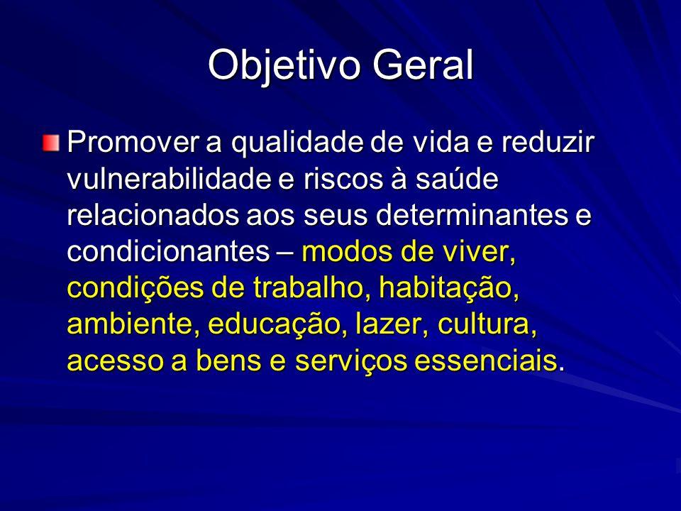 Objetivo Geral Promover a qualidade de vida e reduzir vulnerabilidade e riscos à saúde relacionados aos seus determinantes e condicionantes – modos de