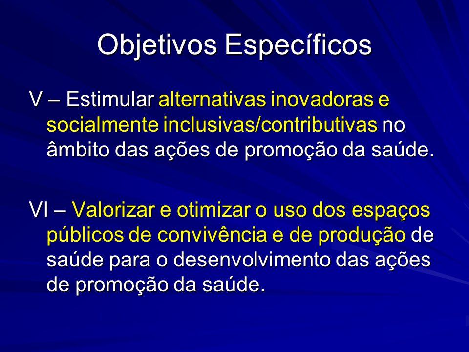 Objetivos Específicos V – Estimular alternativas inovadoras e socialmente inclusivas/contributivas no âmbito das ações de promoção da saúde. VI – Valo