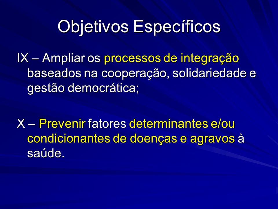 Objetivos Específicos IX – Ampliar os processos de integração baseados na cooperação, solidariedade e gestão democrática; X – Prevenir fatores determi