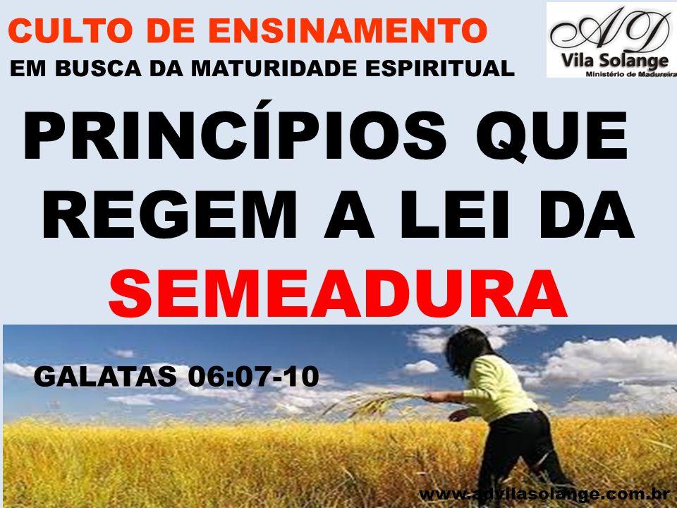 www.advilasolange.com.br 4) COLHEMOS SEMPRE DAQUILO QUE SEMEAMOS CULTO DE ENSINAMENTO EM BUSCA DA MATURIDADE ESPIRITUAL PRINCIPIOS QUE REGEM A LEI DA SEMEADURA TIAGO 03:18 LUCAS 06:31 JÓ 04:08 OSEIAS 08:07 OSEIAS 10:12-13
