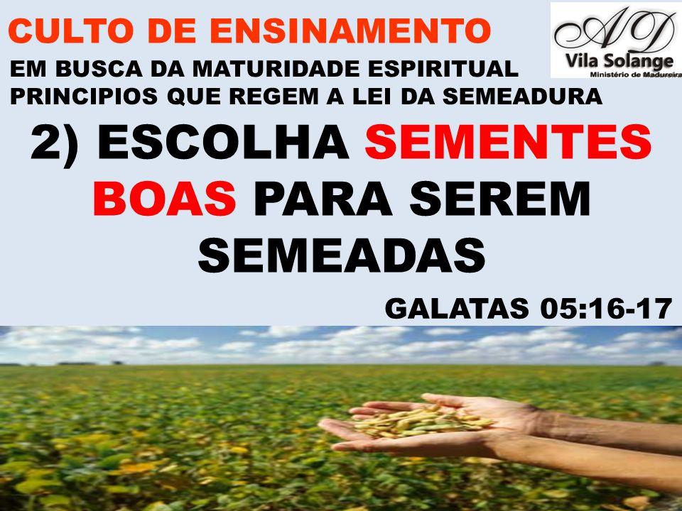 www.advilasolange.com.br A)SEMENTES BOAS E SEMENTES RUINS CULTO DE ENSINAMENTO EM BUSCA DA MATURIDADE ESPIRITUAL GALATAS 05:16-17 PRINCIPIOS QUE REGEM A LEI DA SEMEADURA