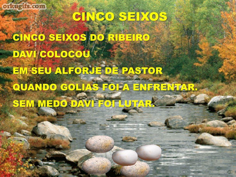 CINCO SEIXOS CINCO SEIXOS DO RIBEIRO DAVI COLOCOU EM SEU ALFORJE DE PASTOR QUANDO GOLIAS FOI A ENFRENTAR. SEM MEDO DAVI FOI LUTAR.