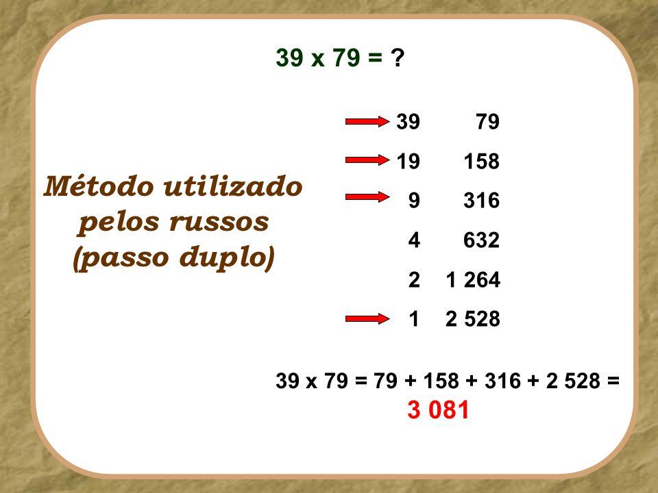 39 x 79 = ? Método utilizado pelos russos (passo duplo) 39 19 9 4 2 1 79 158 316 632 1 264 2 528 39 x 79 = 79 + 158 + 316 + 2 528 = 3 081