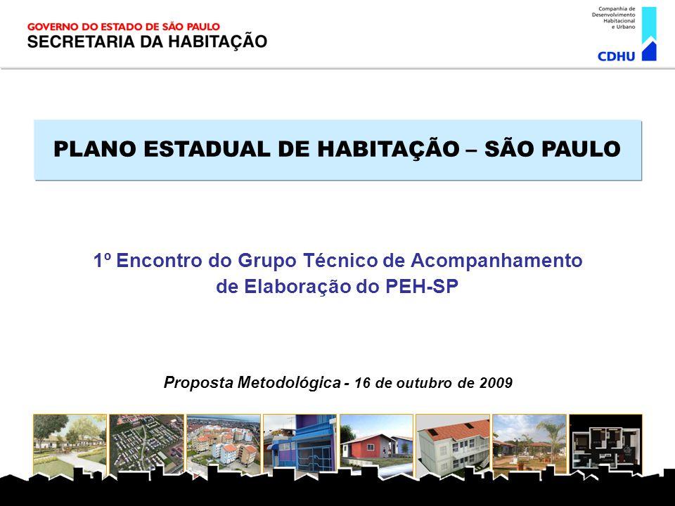 PLANO ESTADUAL DE HABITAÇÃO – SÃO PAULO 1º Encontro do Grupo Técnico de Acompanhamento de Elaboração do PEH-SP Proposta Metodológica - 16 de outubro d