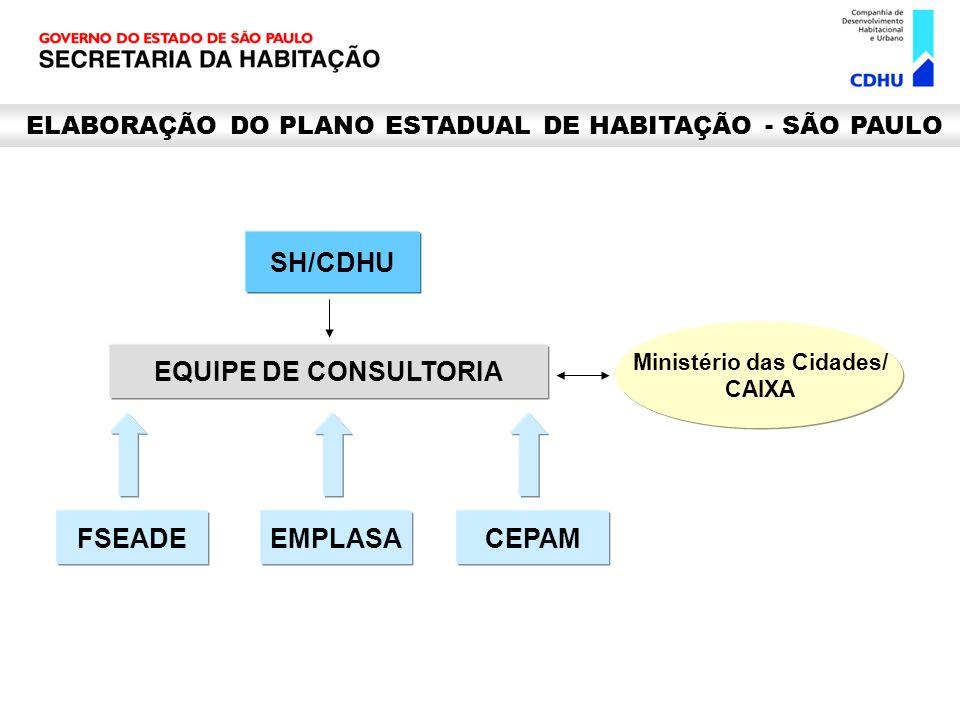 SH/CDHU EQUIPE DE CONSULTORIA Ministério das Cidades/ CAIXA FSEADEEMPLASACEPAM ELABORAÇÃO DO PLANO ESTADUAL DE HABITAÇÃO - SÃO PAULO