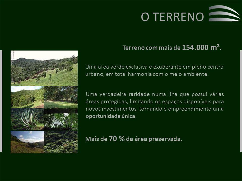 Uma área verde exclusiva e exuberante em pleno centro urbano, em total harmonia com o meio ambiente.