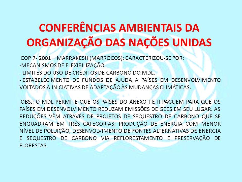 CONFERÊNCIAS AMBIENTAIS DA ORGANIZAÇÃO DAS NAÇÕES UNIDAS COP 7- 2001 – MARRAKESH (MARROCOS): CARACTERIZOU-SE POR: -MECANISMOS DE FLEXIBILIZAÇÃO. - LIM
