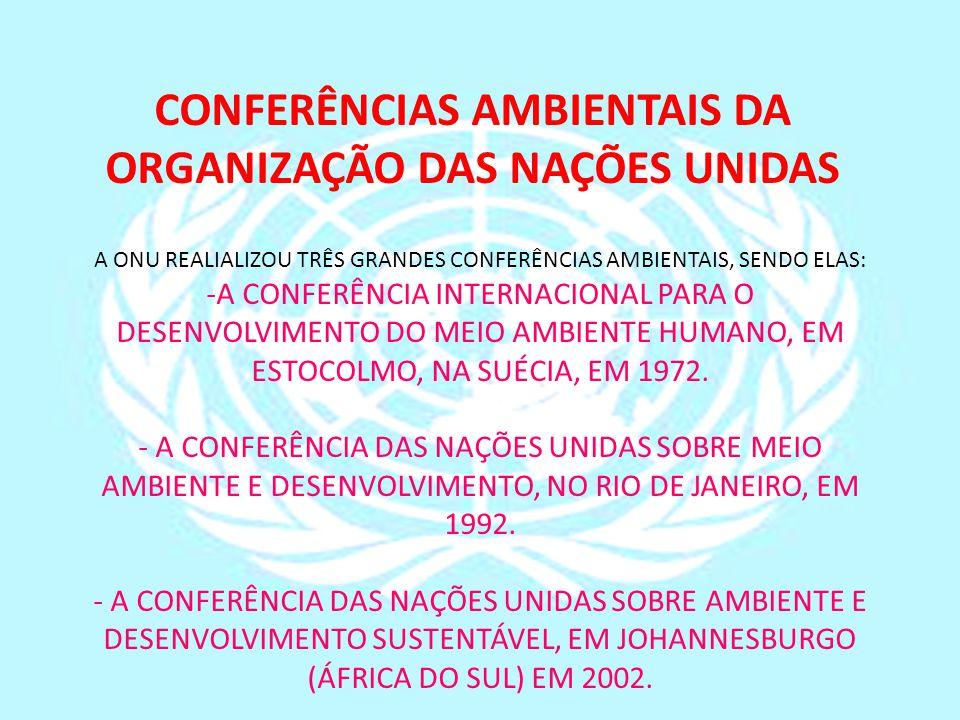 A ONU REALIALIZOU TRÊS GRANDES CONFERÊNCIAS AMBIENTAIS, SENDO ELAS: -A CONFERÊNCIA INTERNACIONAL PARA O DESENVOLVIMENTO DO MEIO AMBIENTE HUMANO, EM ES