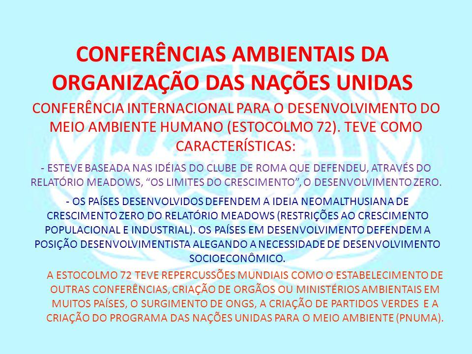 CONFERÊNCIAS AMBIENTAIS DA ORGANIZAÇÃO DAS NAÇÕES UNIDAS CONFERÊNCIA INTERNACIONAL PARA O DESENVOLVIMENTO DO MEIO AMBIENTE HUMANO (ESTOCOLMO 72). TEVE