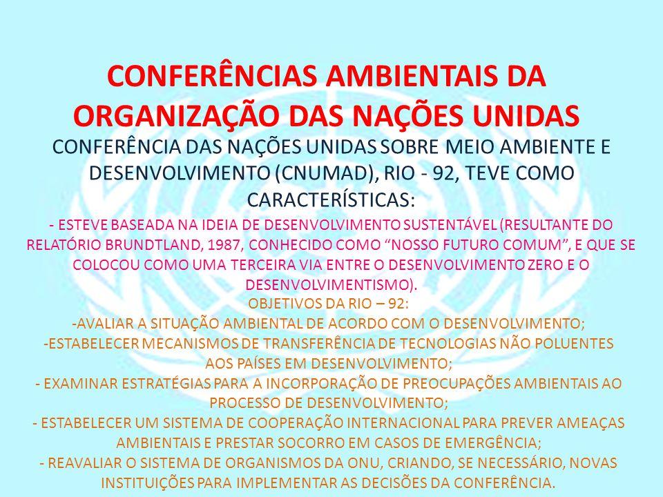 CONFERÊNCIAS AMBIENTAIS DA ORGANIZAÇÃO DAS NAÇÕES UNIDAS CONFERÊNCIA DAS NAÇÕES UNIDAS SOBRE MEIO AMBIENTE E DESENVOLVIMENTO (CNUMAD), RIO - 92, TEVE