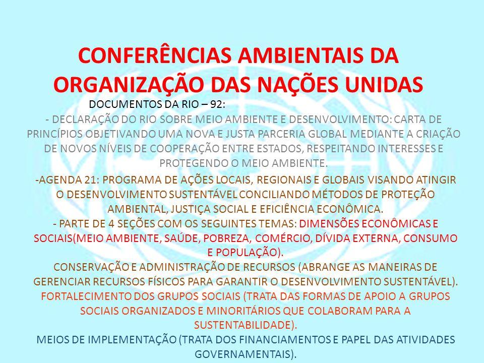 DOCUMENTOS DA RIO – 92: - DECLARAÇÃO DO RIO SOBRE MEIO AMBIENTE E DESENVOLVIMENTO: CARTA DE PRINCÍPIOS OBJETIVANDO UMA NOVA E JUSTA PARCERIA GLOBAL ME