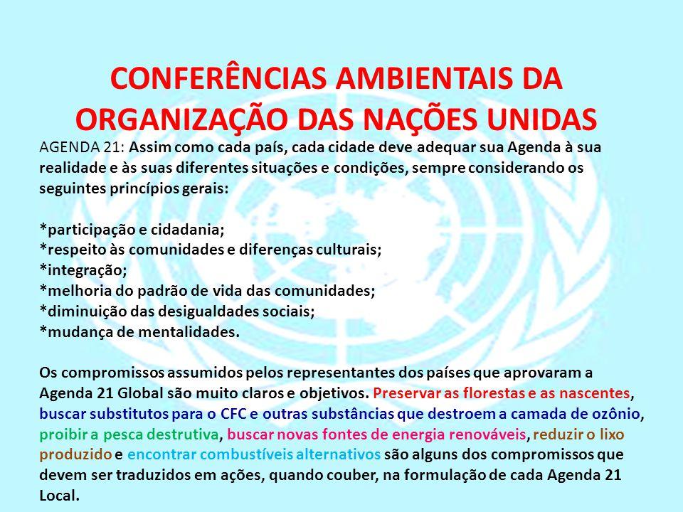CONFERÊNCIAS AMBIENTAIS DA ORGANIZAÇÃO DAS NAÇÕES UNIDAS AGENDA 21: Assim como cada país, cada cidade deve adequar sua Agenda à sua realidade e às sua