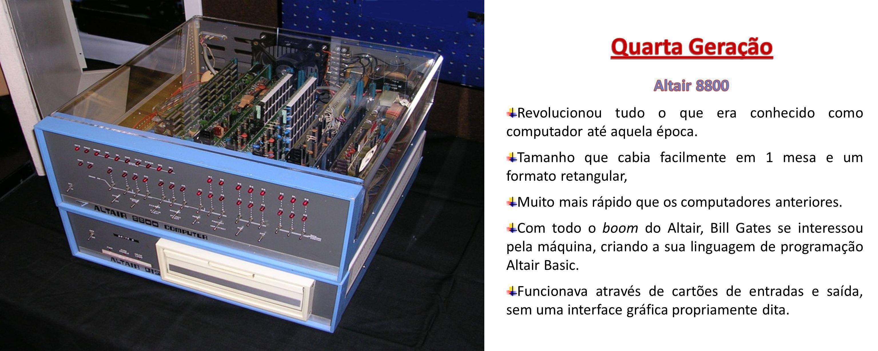 Revolucionou tudo o que era conhecido como computador até aquela época. Tamanho que cabia facilmente em 1 mesa e um formato retangular, Muito mais ráp