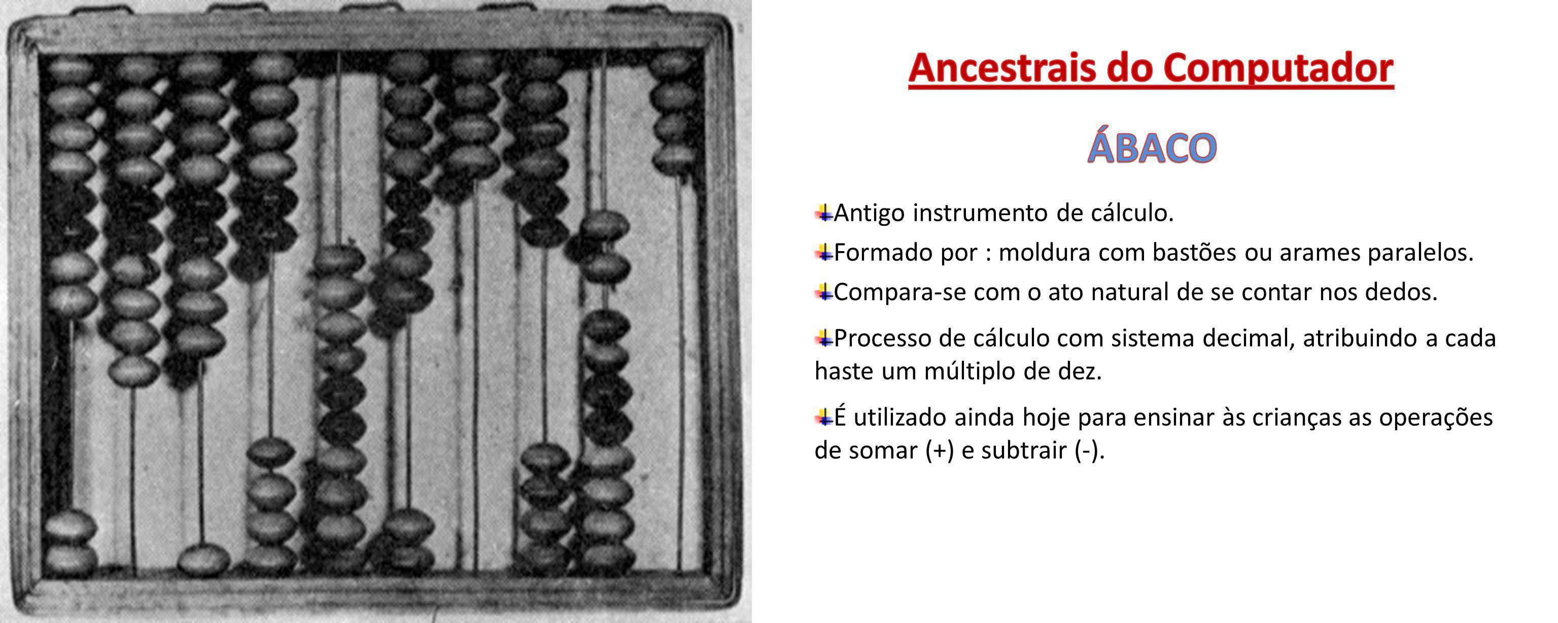 Antigo instrumento de cálculo. Formado por : moldura com bastões ou arames paralelos. Compara-se com o ato natural de se contar nos dedos. Processo de