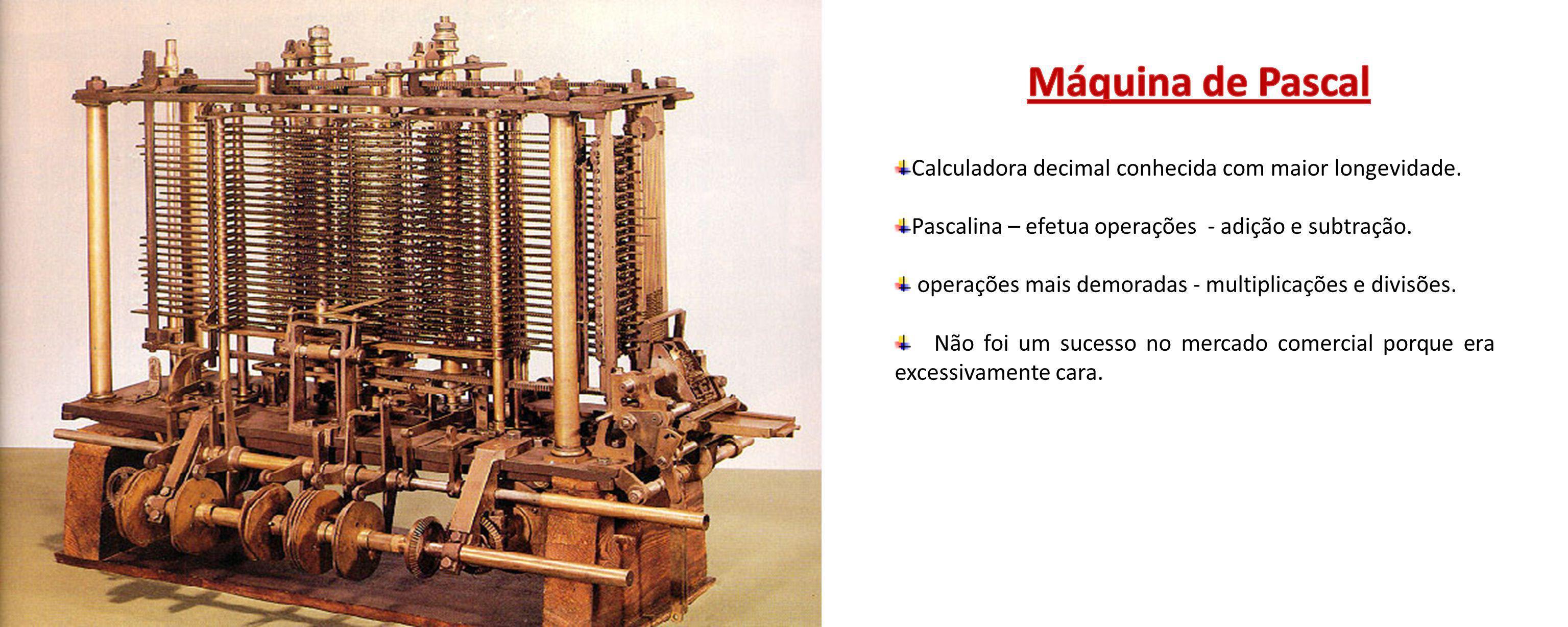 Calculadora decimal conhecida com maior longevidade. Pascalina – efetua operações - adição e subtração. operações mais demoradas - multiplicações e di