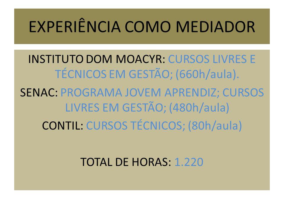 EXPERIÊNCIA COMO MEDIADOR INSTITUTO DOM MOACYR: CURSOS LIVRES E TÉCNICOS EM GESTÃO; (660h/aula). SENAC: PROGRAMA JOVEM APRENDIZ; CURSOS LIVRES EM GEST