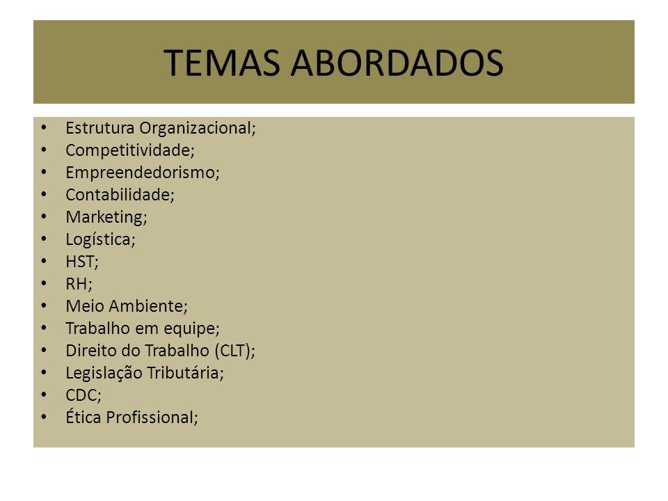 TEMAS ABORDADOS Estrutura Organizacional; Competitividade; Empreendedorismo; Contabilidade; Marketing; Logística; HST; RH; Meio Ambiente; Trabalho em equipe; Direito do Trabalho (CLT); Legislação Tributária; CDC; Ética Profissional;