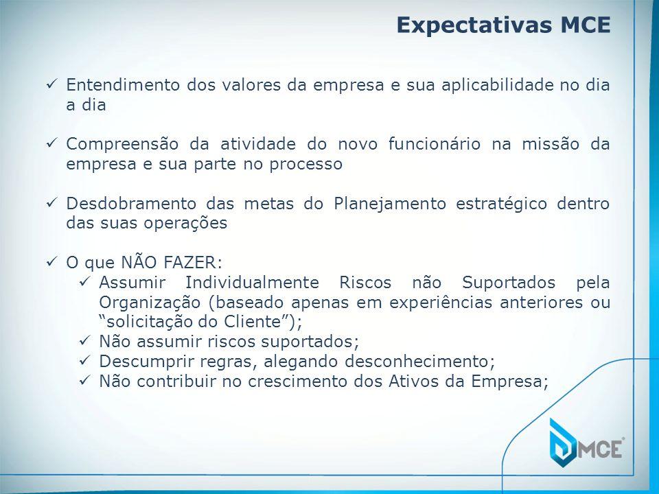 Expectativas MCE Entendimento dos valores da empresa e sua aplicabilidade no dia a dia Compreensão da atividade do novo funcionário na missão da empre