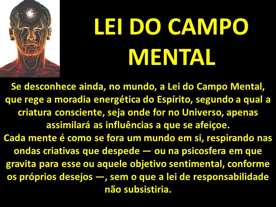LEI DO CAMPO MENTAL Se desconhece ainda, no mundo, a Lei do Campo Mental, que rege a moradia energética do Espírito, segundo a qual a criatura conscie