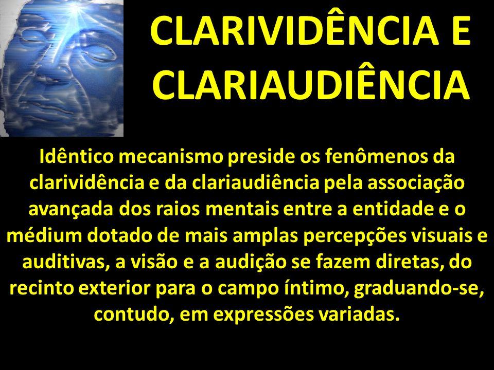 CLARIVIDÊNCIA E CLARIAUDIÊNCIA Idêntico mecanismo preside os fenômenos da clarividência e da clariaudiência pela associação avançada dos raios mentais