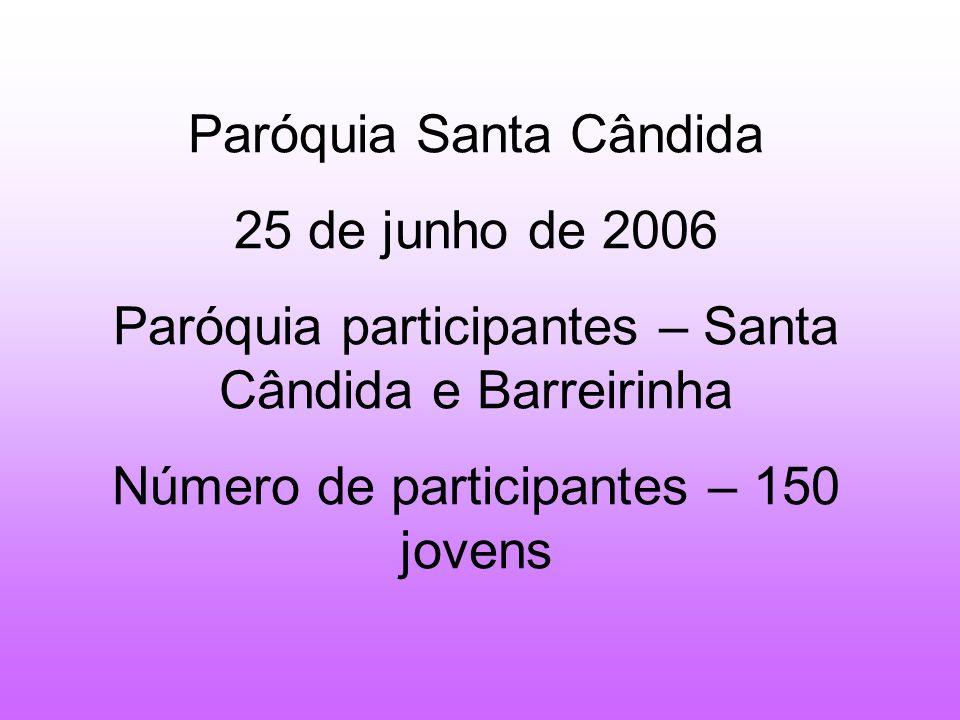 Paróquia Santa Cândida 25 de junho de 2006 Paróquia participantes – Santa Cândida e Barreirinha Número de participantes – 150 jovens